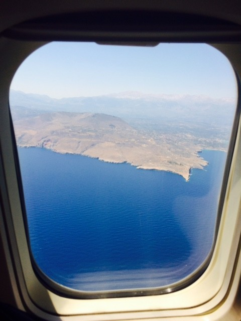 View of Crete from airplane