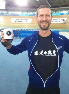 Lucas Oliver with FWC Mug at the Olympic Velodrome
