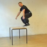 FWC Instructor Dave Courtney Jones jumps onto a table