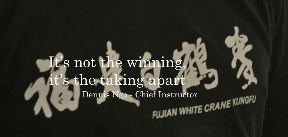 """It's not the winning it's the taking apart"" quote from Dennis Ngo, Chief Instructor, Fujian White Crane Kung Fu & Tai Chi Martial Arts Club"