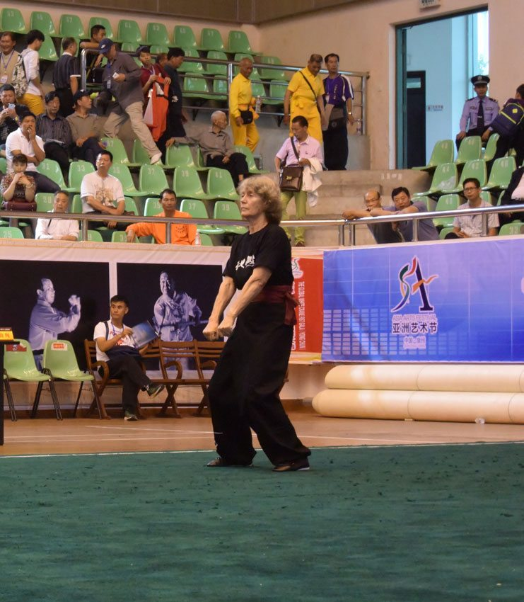 Jill Steen, student of Fujian White Crane Kung Fu & Tai Chi Martial Arts competing in Quanzhou, China