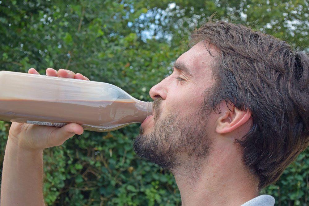 Richard Wagstaff, Instructor of Fujian White Crane Kung Fu 7 Tai Chi Martial Arts, drinks chocolate milk after training.