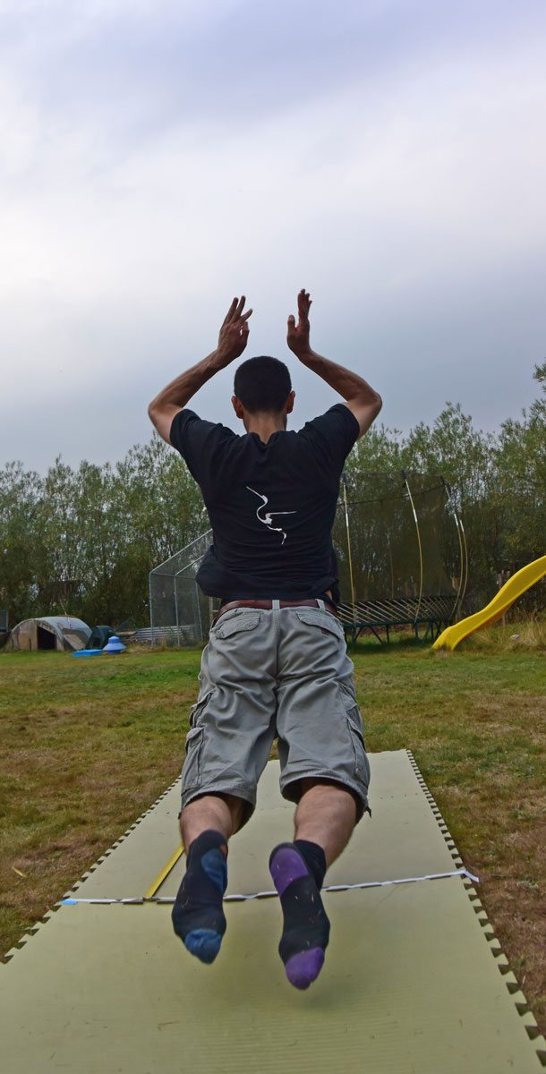 josh, a student of Fujian White Crane Kung Fu & Tai Chi Martial Arts, has a go at the Kneel Jump