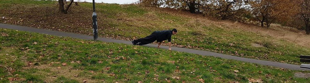 Joshua Villar, Instructor, Fujian White Crane Kung Fu & Tai Chi, does a knuckle walk downhill.