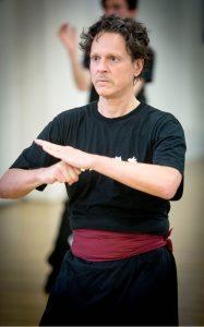 Professor Carmine Pariante, student of the Fujian White Crane Kung Fu & Tai Chi Martial Arts Club, training in class.