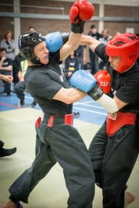 Full contact sparring at the Fujian White Crane Kung Fu and Tai Chi Martial Arts Club competition April 2017
