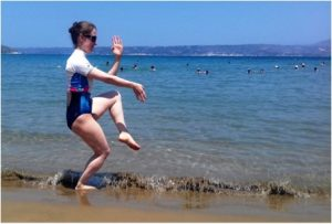 Yevheniia Mikheenko, student of the Fujian White Crane Kung Fu and Tai Chi Martial Arts Club, training on the beach in Crete