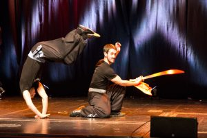 Instructors Adam Prout (tumbling) and Richard Wagstaff (Broadsword). of the Fujian White Crane Kung Fu & Tai Chi Martial Arts Club (FWC Kung Fu) performing at the Club's 40th Anniversary Celebration