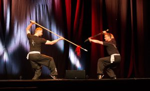 Instructors Danil Mikhailov (Spear) and Nick Fielding (Broadsword) of the Fujian White Crane Kung Fu & Tai Chi Martial Arts Club (FWC Kung Fu) perform a two-person pattern at the Club's 40th Anniversary Celebration