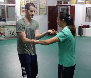 Ben Hallifax, student of the FWC Kung Fu Club training with Su Jun Yu of the Yongchun YiYun Society, China.