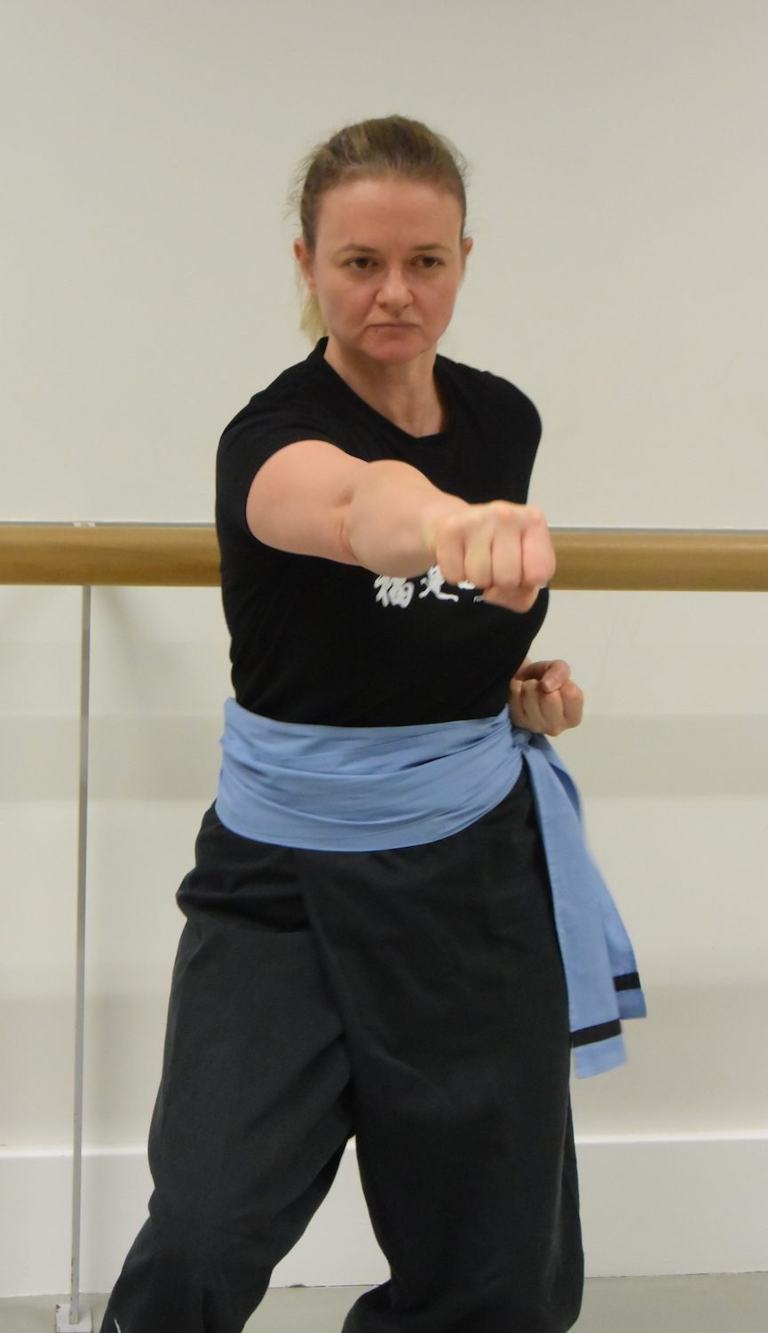 Anna Wallen, Instructor, Fujian White Crane Kung Fu & Tai Chi Martial Arts Club, practising punching