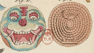 Chinese wicker shield in watercolour from an 18th century translation of Sun Tzu's Art of War