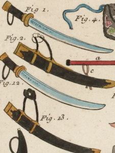 Watercolour of Chinese War Sabres from an 18th century translation of Sun Tzu's Art of War